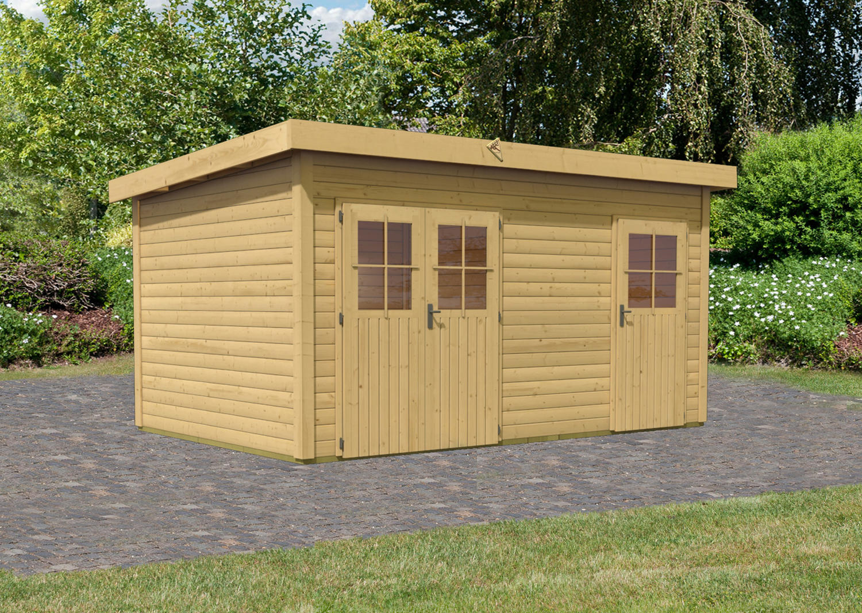 karibu woodfeeling 2 raum gartenhaus mattrup ferienhaus holzhaus ger tehaus ebay. Black Bedroom Furniture Sets. Home Design Ideas