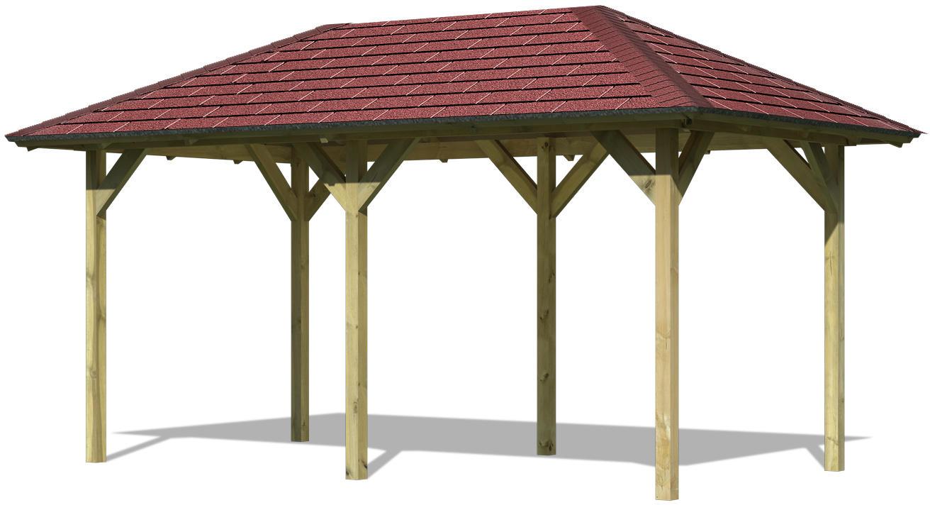 Karibu Pavillon Lillehammer 2 im Set mit Schindeln - 2,18x4,25x2,79 Gartenlaube