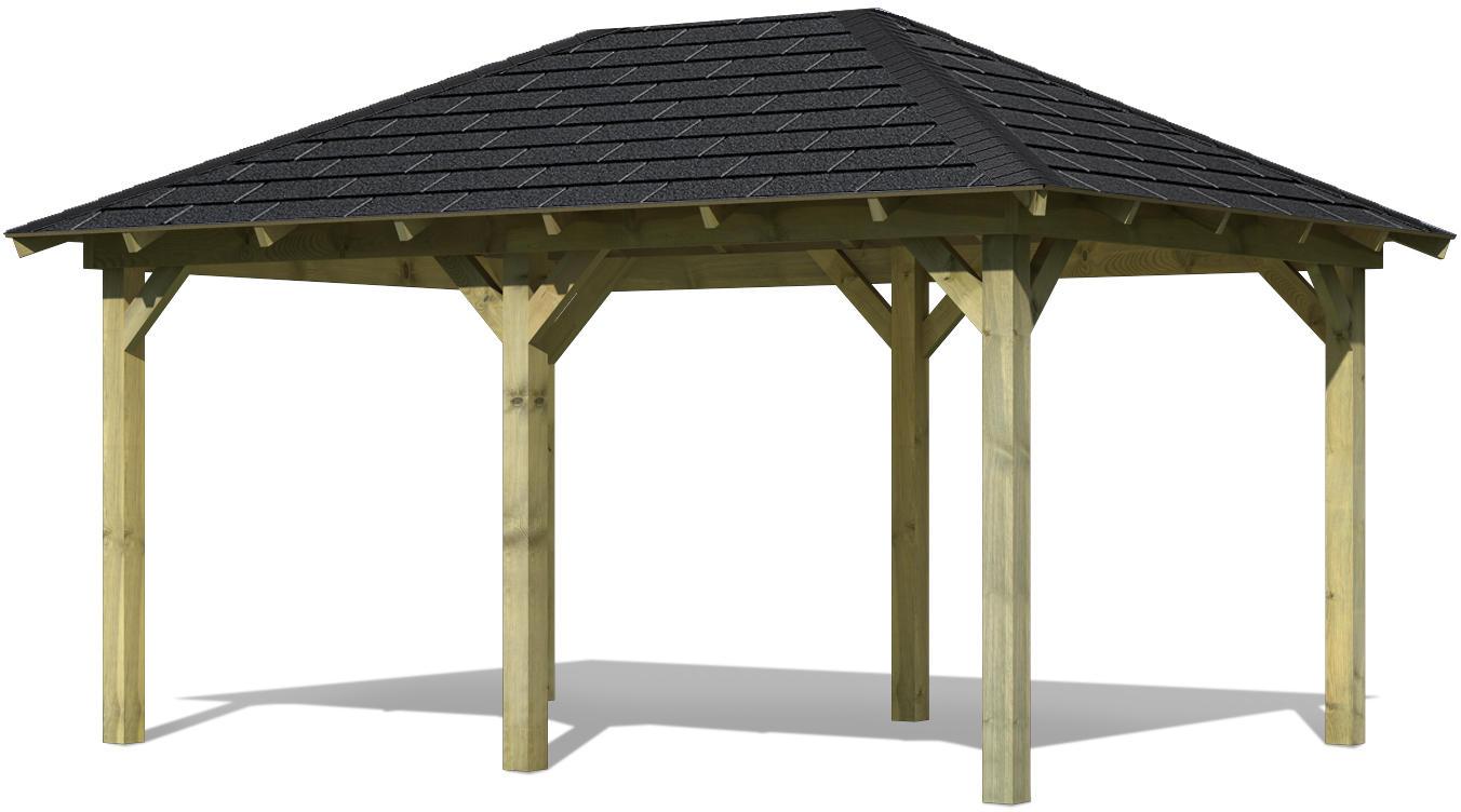 Karibu Pavillon Merida Set Schindeln 2,89x4,29x2,96m Gartenlaube Holzpavillion