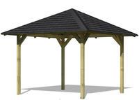 Karibu Pavillon Sevilla im Set mit Schindeln 2,65x2,65x2,90m kesseldruckimprägniert