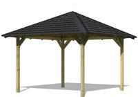 Karibu Pavillon Cordoba 4 im Set mit Schindeln 2,89x2,89x2,97m kesseldruckimprägniert