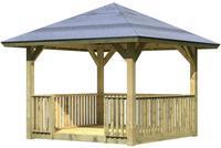 Karibu Pavillon Bergen 1 im Set mit Brüstung und Fußboden kesseldruckimprägniert 2,65x2,65x2,90m