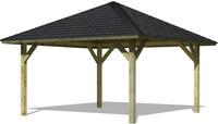 Karibu Pavillon Holm 1 im Set mit Schindeln kesseldruckimprägniert 3,59x3,59x3,15m