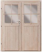Karibu Doppelflügeltür 28 mm inkl. Türschloss und Rahmen naturbelassen