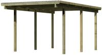 Karibu Einzel Carport Eco 1A mit PVC Dacheindeckung druckimprägniert 3,04x4,90x2,29m