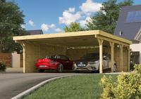 Karibu Doppelcarport Classic 2A PVC-Dacheindeckung kesseldruckimprägniert  5,90x6,68x2,34m