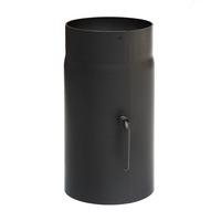 Rauchrohr 120mm x 250mm 2mm mit Drosselklappe schwarz