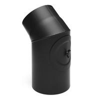 Rauchrohr 130mm Bogen 45° mit Tür mit Reinigungsöffnung schwarz