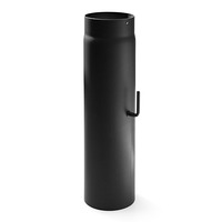Rauchrohr 120mm x 500mm 2mm mit Drosselklappe schwarz