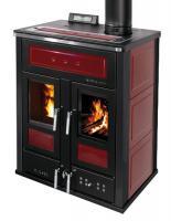 Klover BI-FIRE MID Kombi Kaminofen Holz Pellet wasserführend Keramik bordeaux 27,4 kw