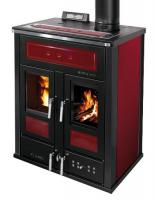 Klover BI-FIRE MID Kombi Kaminofen Holz Pellet wasserführend Stahl bordeaux 27,4 kw