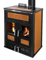 Klover BI-FIRE MID Kombi Kaminofen Holz Pellet wasserführend Stahl orange 27,4 kw
