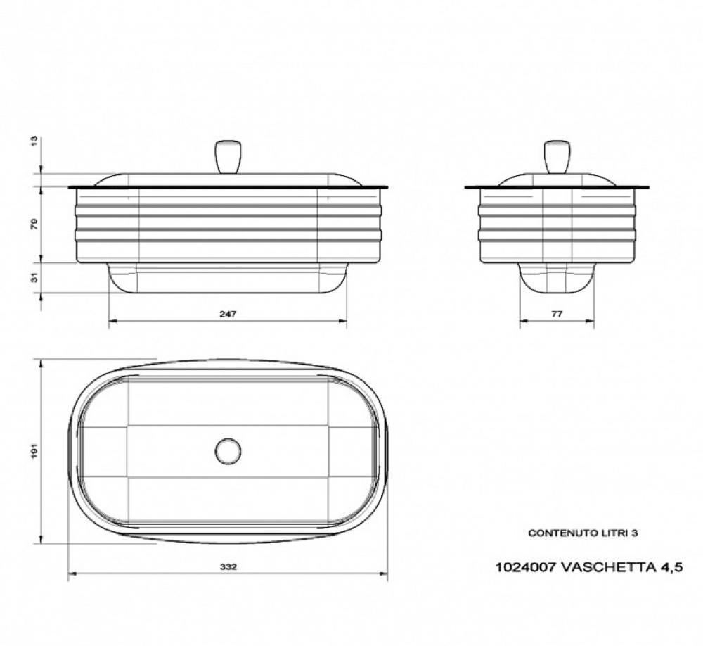 Wasserschiff mit Schöpflöffel für La Nordica Küchenherde 4,5