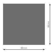 Bodenplatte Stahl B1 Rechteck gussgrau pulverbeschichtet 800 x 800mm