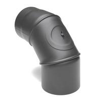 Rauchrohr 130mm Bogen 0°-90° drehbar mit Reinigungsöffnung gussgrau