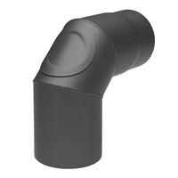 Rauchrohr 130mm Bogen 90° mit Reinigungsöffnung gussgrau