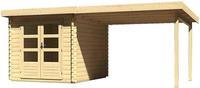 Karibu Woodfeeling Bastrup 4 Blockbohlenhaus 28 mm mit 300 cm Schleppdach