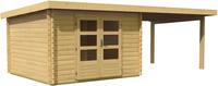 Karibu Woodfeeling Bastrup 5 Blockbohlenhaus im Set mit Schleppdach 3m breit
