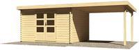 Karibu Woodfeeling Bastrup 7 Blockbohlenhaus 28 mm mit 3m Schleppdach