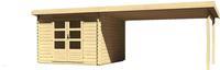 Karibu Woodfeeling Bastrup 5 Blockbohlenhaus im Set mit Schleppdach 4 m