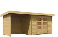 Karibu Woodfeeling Bastrup 3 Blockbohlenhaus 28 mm mit 200 cm Schleppdach mit Rückwand und Seitenwand