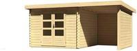 Karibu Woodfeeling Bastrup 5 Blockbohlenhaus 28 mm mit 200 cm Schleppdach,Seiten und Rückwand