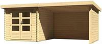 Karibu Woodfeeling Bastrup 4 Blockbohlenhaus 28 mm mit 300 cm Schleppdach Rückwand und Seitenwand