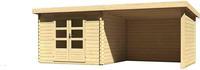 Karibu Woodfeeling Bastrup 5 Blockbohlenhaus 28 mm mit 3m Schleppdach,Seiten und Rückwand