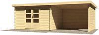 Karibu Woodfeeling Bastrup 7 Blockbohlenhaus 28 mm mit 3m Schleppdach,Rückwand und Seitenwand