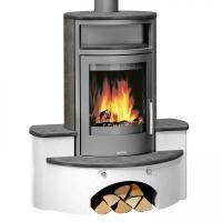 Kaminofen Justus Kaskade Stahl Gussgrau/Keramik Namib 7 kW Kaminbausatz