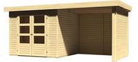 Karibu Woodfeeling Askola 3 mit Anbaudach + 19 mm Seiten- und Rückwand naturbelassen