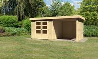 Karibu Woodfeeling Gartenhaus Askola 3,5 mit Anbaudach und 19 mm Seiten- Rückwand naturbelassen