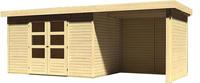 Karibu Woodfeeling Gartenhaus Askola 4 mit Anbaudach und 19 mm Seiten- Rückwand naturbelassen