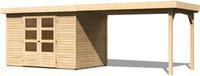 Karibu Woodfeeling Gartenhaus Askola 4 mit Anbaudach 2,60m Breite naturbelassen