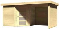 Karibu Woodfeeling Gartenhaus Schwandorf 5 mit Anbaudach 2,20 m Breite und 19 mm Seiten- und Rückwand naturbelassen