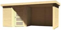 Karibu Woodfeeling Gartenhaus Schwandorf 3 mit Anbaudach 2,60 m Breite und 19 mm Seiten- und Rückwand naturbelassen