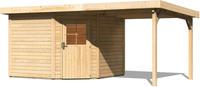 Karibu Woodfeeling Gartenhaus Neuruppin 3 + Anbaudach Breite 2,35 m naturbelassen