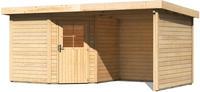 Karibu Woodfeeling Gartenhaus Neuruppin 2 + Anbaudach + Wände Breite 2,35 m naturbelassen