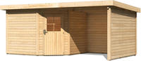 Karibu Woodfeeling Gartenhaus Neuruppin 3 + Anbaudach + Wände Breite 2,35m naturbelassen