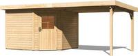 Karibu Woodfeeling Gartenhaus Neuruppin 3 + Anbaudach Breite 2,95 m naturbelassen