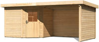 Karibu Woodfeeling Gartenhaus Neuruppin 2 + Anbaudach + Wände Breite 2,95 m naturbelassen
