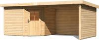 Karibu Woodfeeling Gartenhaus Neuruppin 3 + Anbaudach + Wände Breite 2,95m naturbelassen
