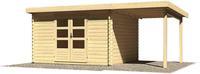 Karibu Woodfeeling Bastrup 7 Blockbohlenhaus 28 mm mit 2m Schleppdach