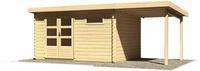 Karibu Woodfeeling Blockbohlenhaus Bastrup 8 mit Schleppdach 2 m breit naturbelassen