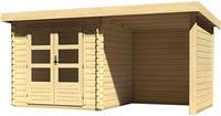 Karibu Woodfeeling Bastrup 2 Blockbohlenhaus mit Schleppdach + Wände naturbelassen