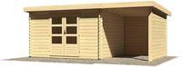 Karibu Woodfeeling Bastrup 7 Blockbohlenhaus mit Schleppdach + Rückwand naturbelassen
