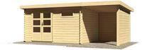 Karibu Woodfeeling Blockbohlenhaus Bastrup 8 mit Schleppdach + Seiten- und Rückwand naturbelassen