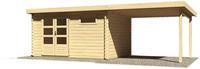 Karibu Woodfeeling Blockbohlenhaus Bastrup 8 im Set mit Schleppdach 3 m breit naturbelassen