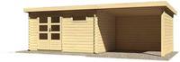 Karibu Woodfeeling Blockbohlenhaus Bastrup 8 mit Schleppdach Seiten - und Rückwand naturbelassen
