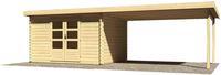 Karibu Woodfeeling Bastrup 7 Blockbohlenhaus mit Schleppdach + Wände naturbelassen